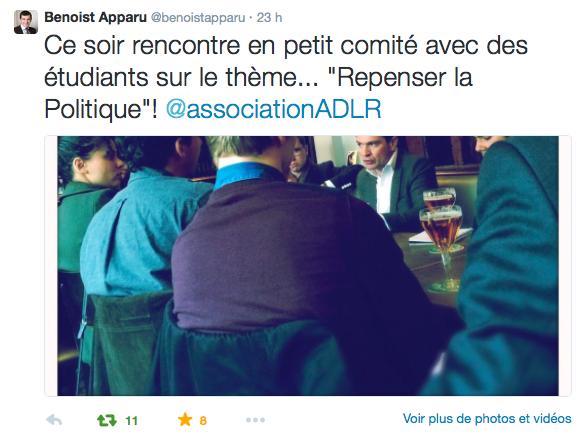 Tweet Benoist Apparu Rencontre avec Les Arenes de la Republique